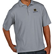 Antigua Men's Notre Dame Fighting Irish Grey Pique Xtra-Lite Polo