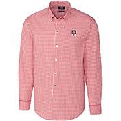 Cutter & Buck Men's Indiana Hoosiers Crimson Stretch Gingham Long Sleeve Button Down Shirt