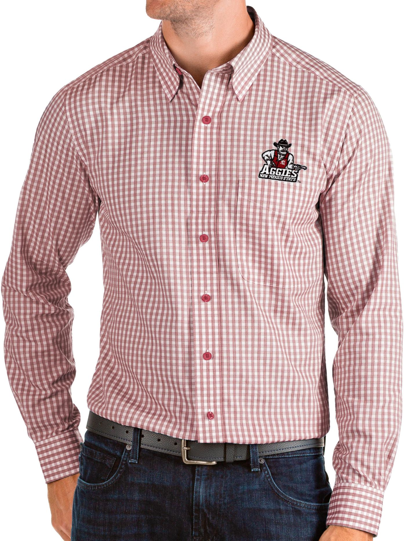 Antigua Men's New Mexico State Aggies Crimson Structure Button Down Long Sleeve Shirt