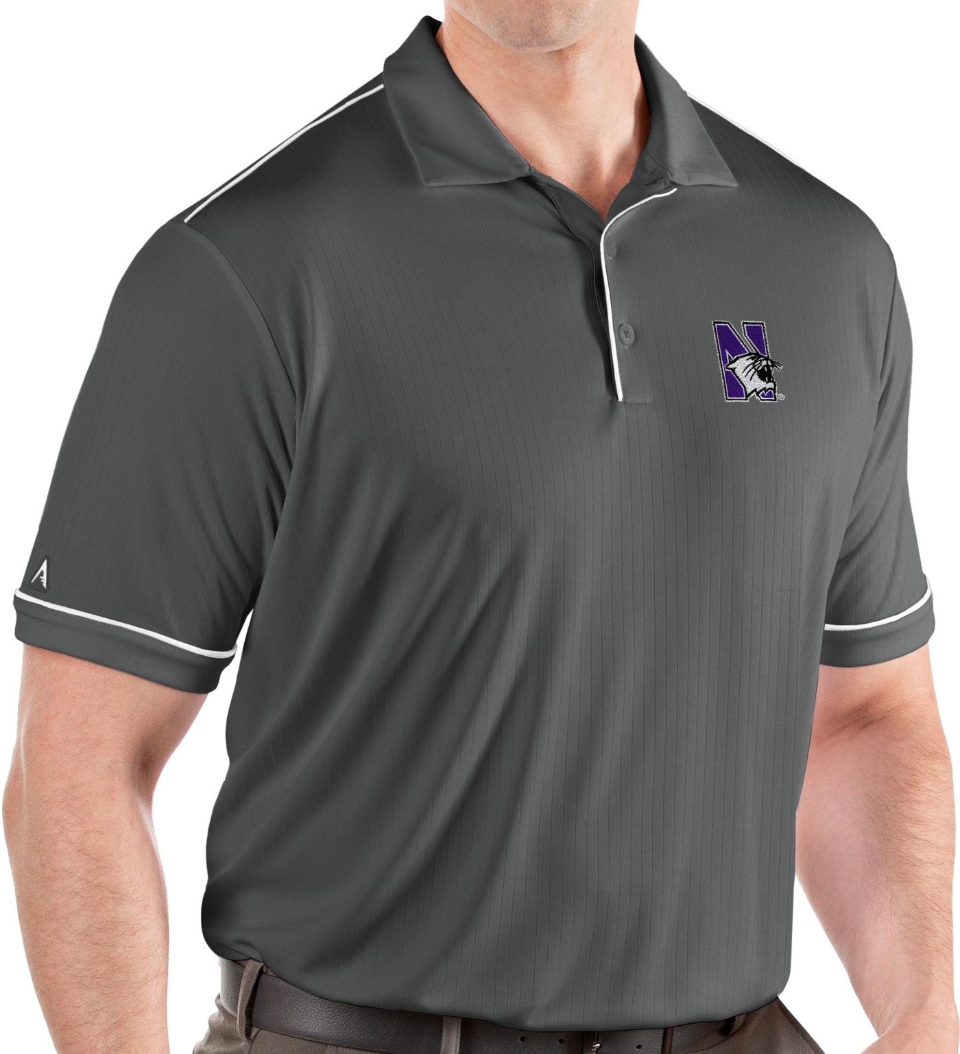 Antigua Men's Northwestern Wildcats Grey Salute Performance Polo