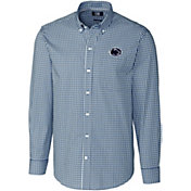 Cutter & Buck Men's Penn State Nittany Lions Blue Stretch Gingham Long Sleeve Button Down Shirt