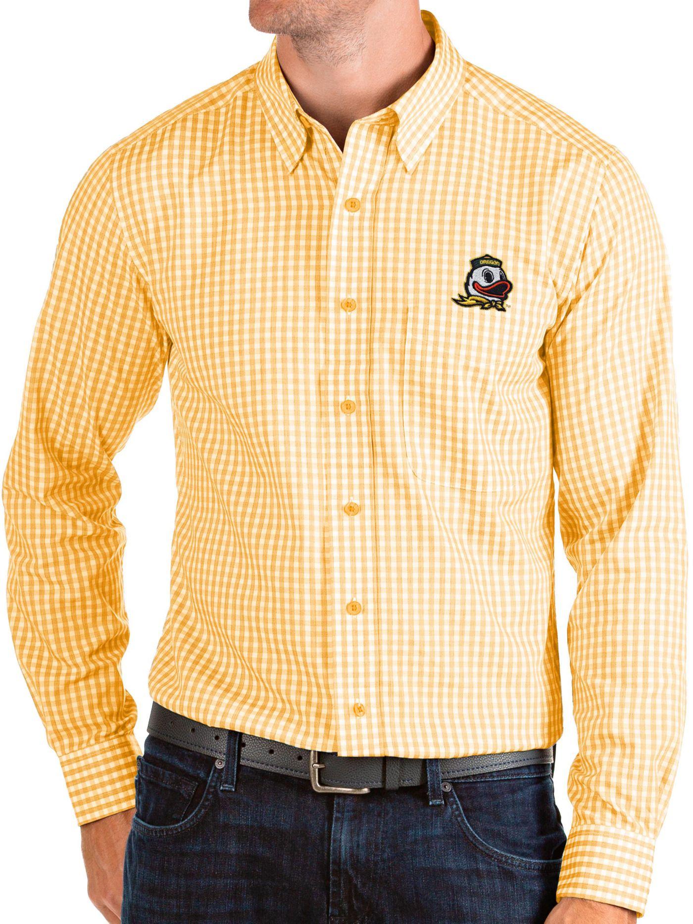 Antigua Men's Oregon Ducks Yellow Structure Button Down Long Sleeve Shirt