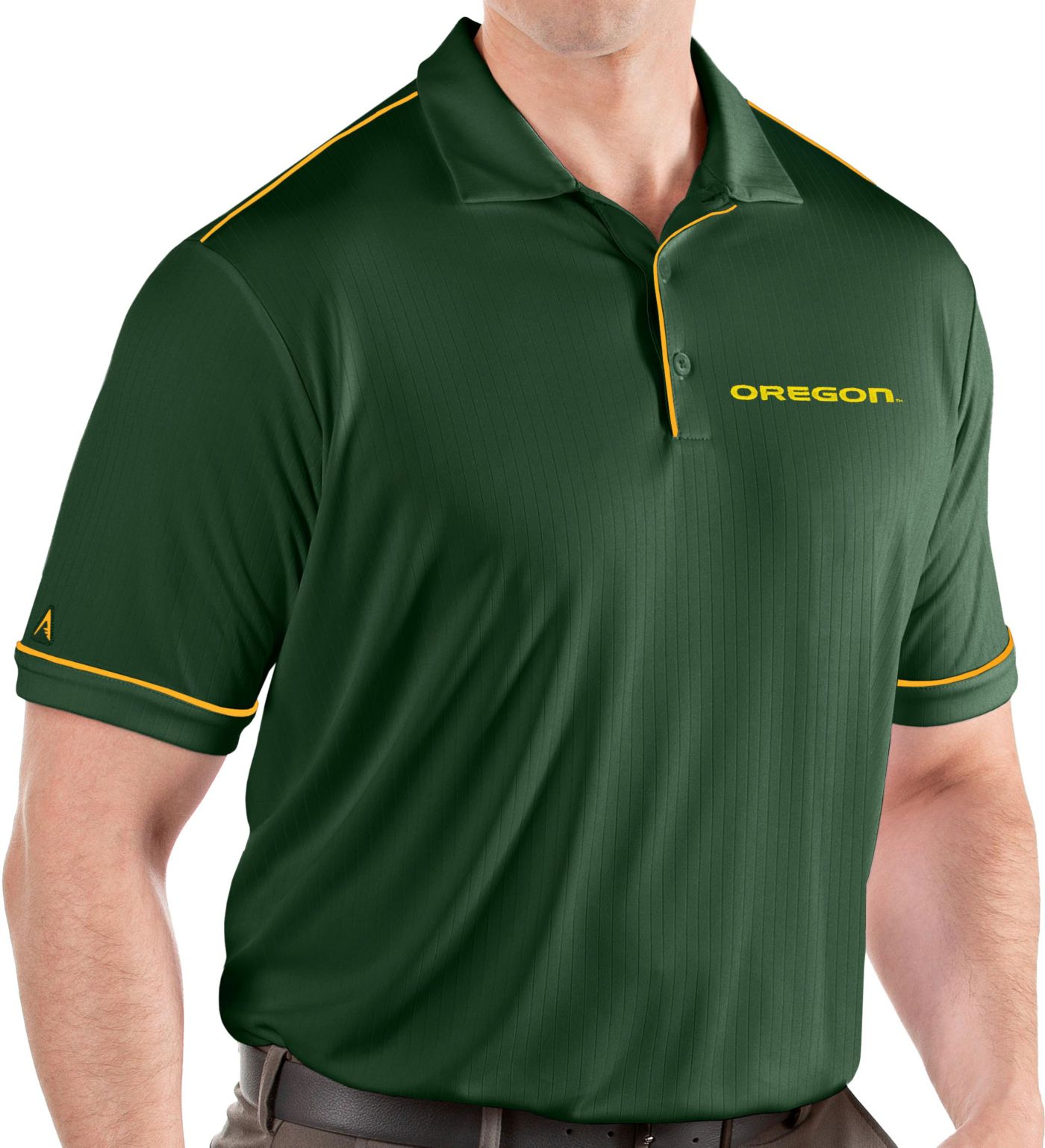 Antigua Men's Oregon Ducks Green Salute Performance Polo