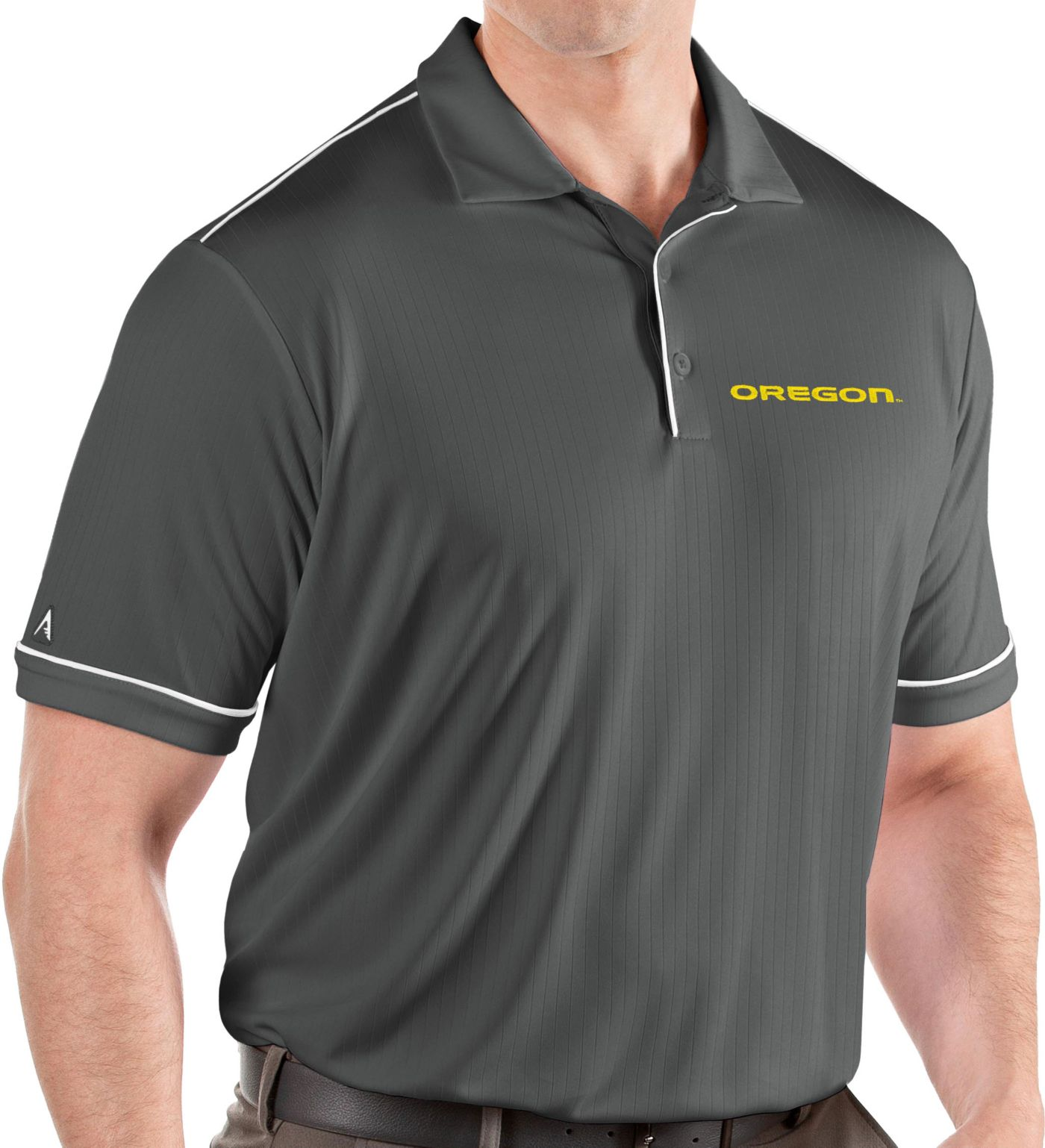 Antigua Men's Oregon Ducks Grey Salute Performance Polo