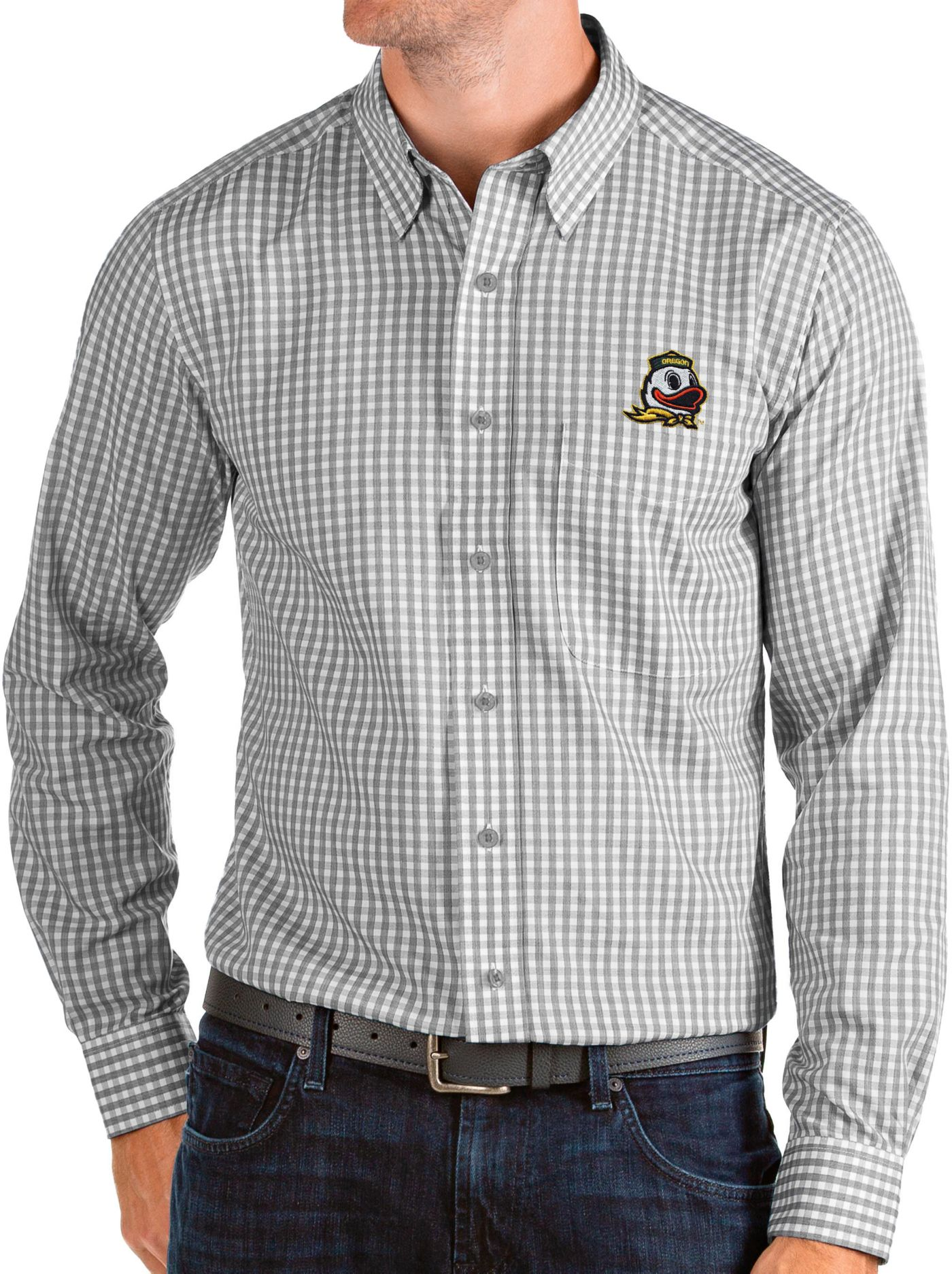 Antigua Men's Oregon Ducks Grey Structure Button Down Long Sleeve Shirt