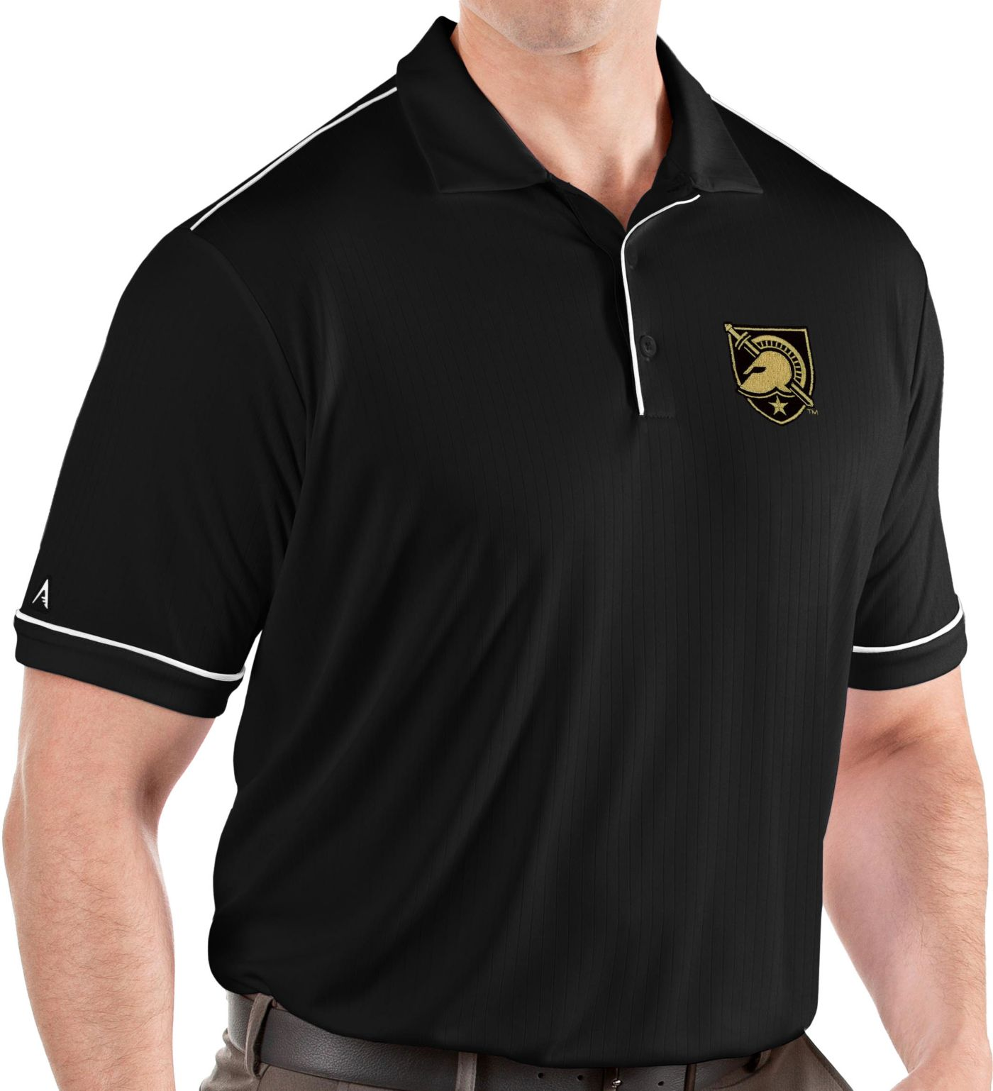 Antigua Men's Army West Point Black Knights Salute Performance Black Polo