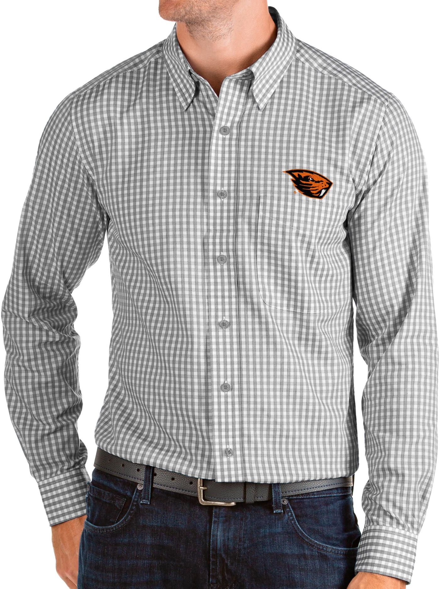 Antigua Men's Oregon State Beavers Grey Structure Button Down Long Sleeve Shirt