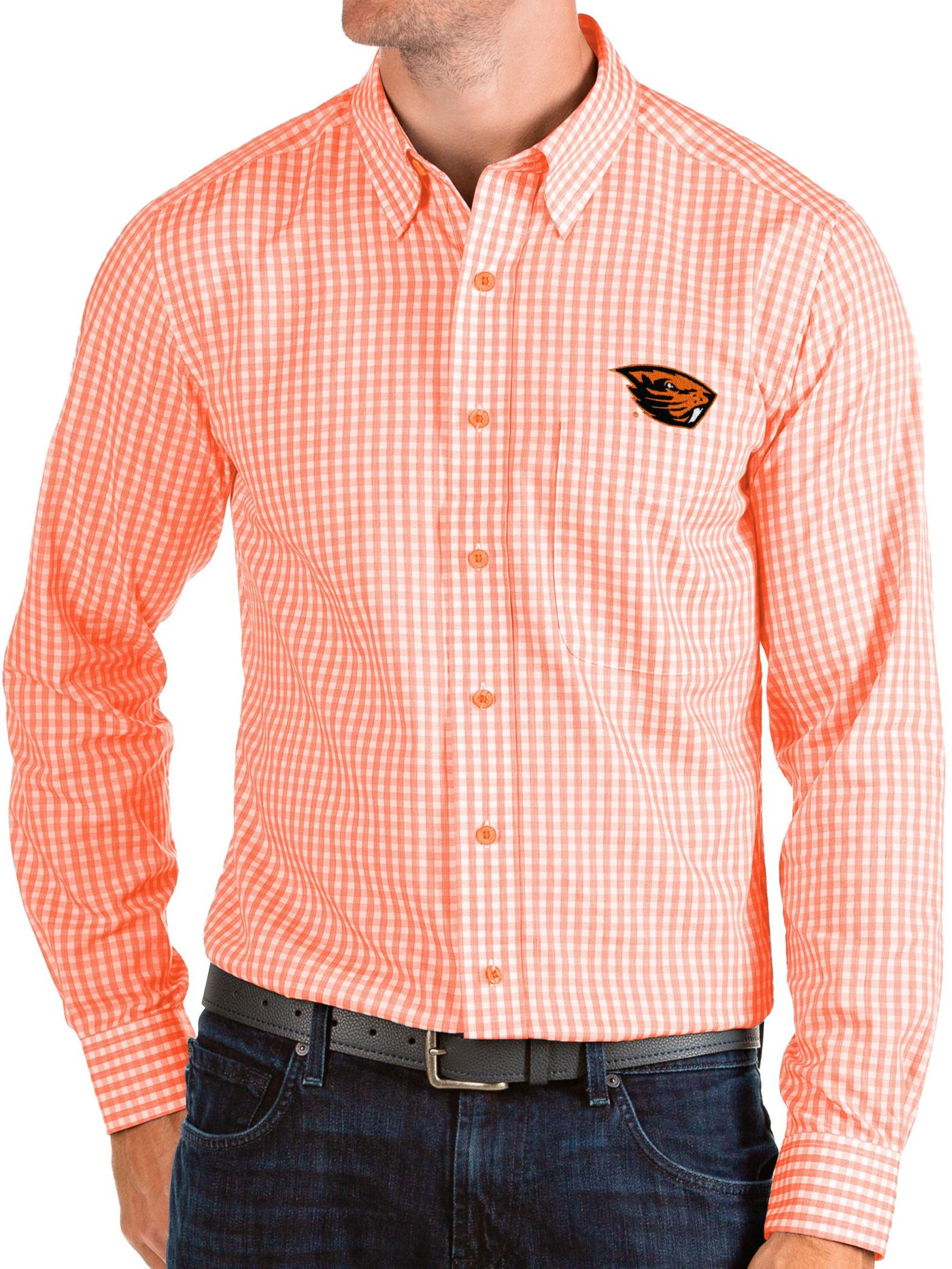 Antigua Men's Oregon State Beavers Orange Structure Button Down Long Sleeve Shirt