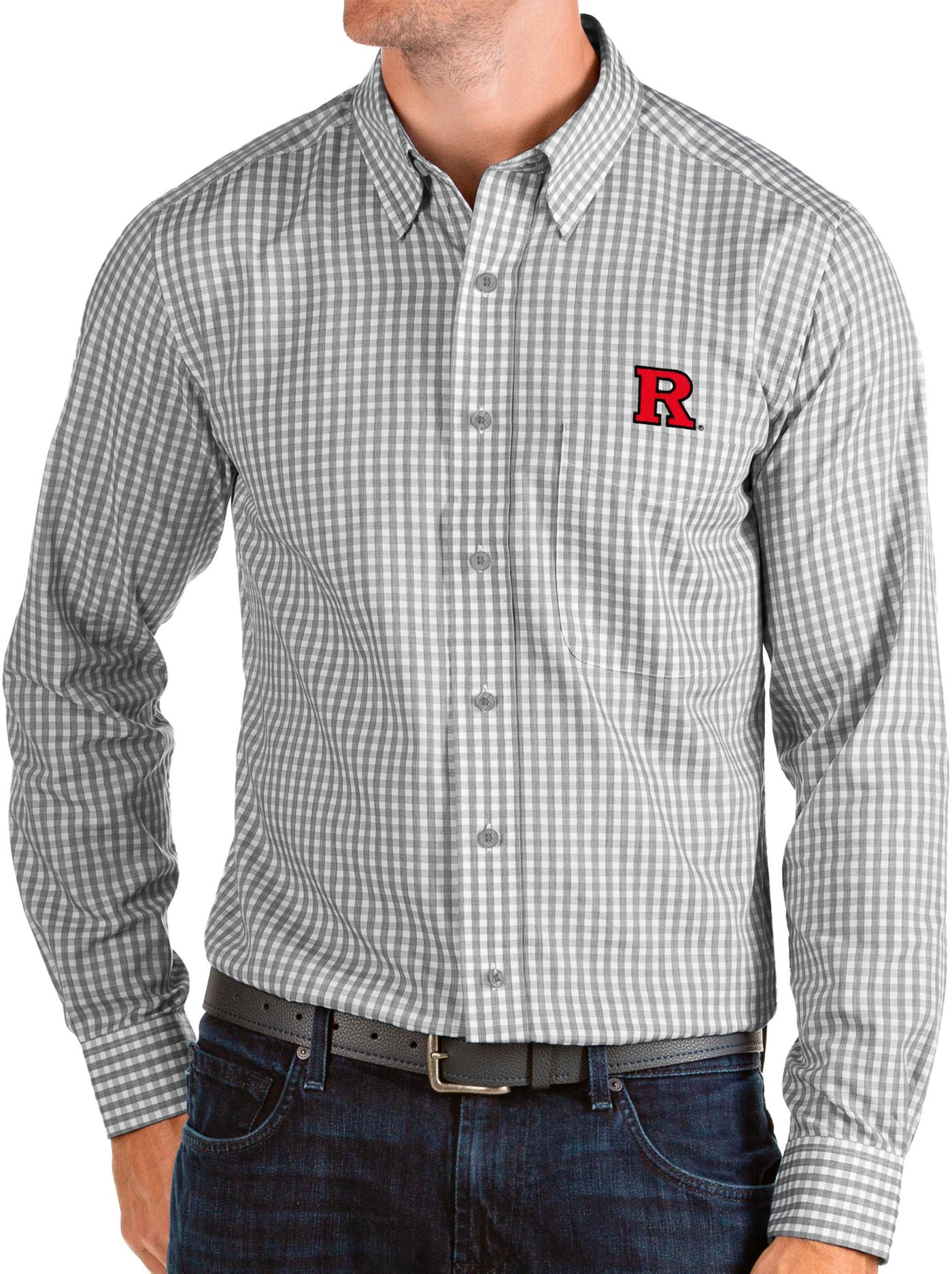 Antigua Men's Rutgers Scarlet Knights Grey Structure Button Down Long Sleeve Shirt