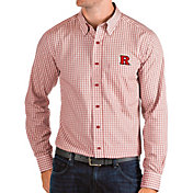 Antigua Men's Rutgers Scarlet Knights Scarlet Structure Button Down Long Sleeve Shirt