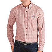Antigua Men's Arizona Wildcats Cardinal Structure Button Down Long Sleeve Shirt