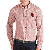 Antigua Men's South Dakota Coyotes Red Structure Button Down Long Sleeve Shirt