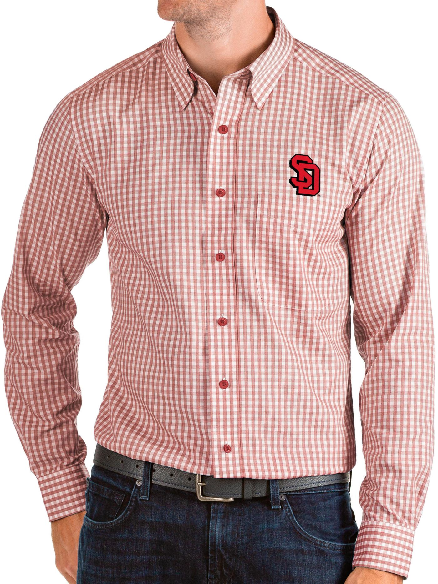 Antigua Men's South Dakota Coyotes Red Structure Button Down Long Sleeve Shirt