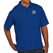 Antigua Men's San Jose State  Spartans Blue Pique Xtra-Lite Polo