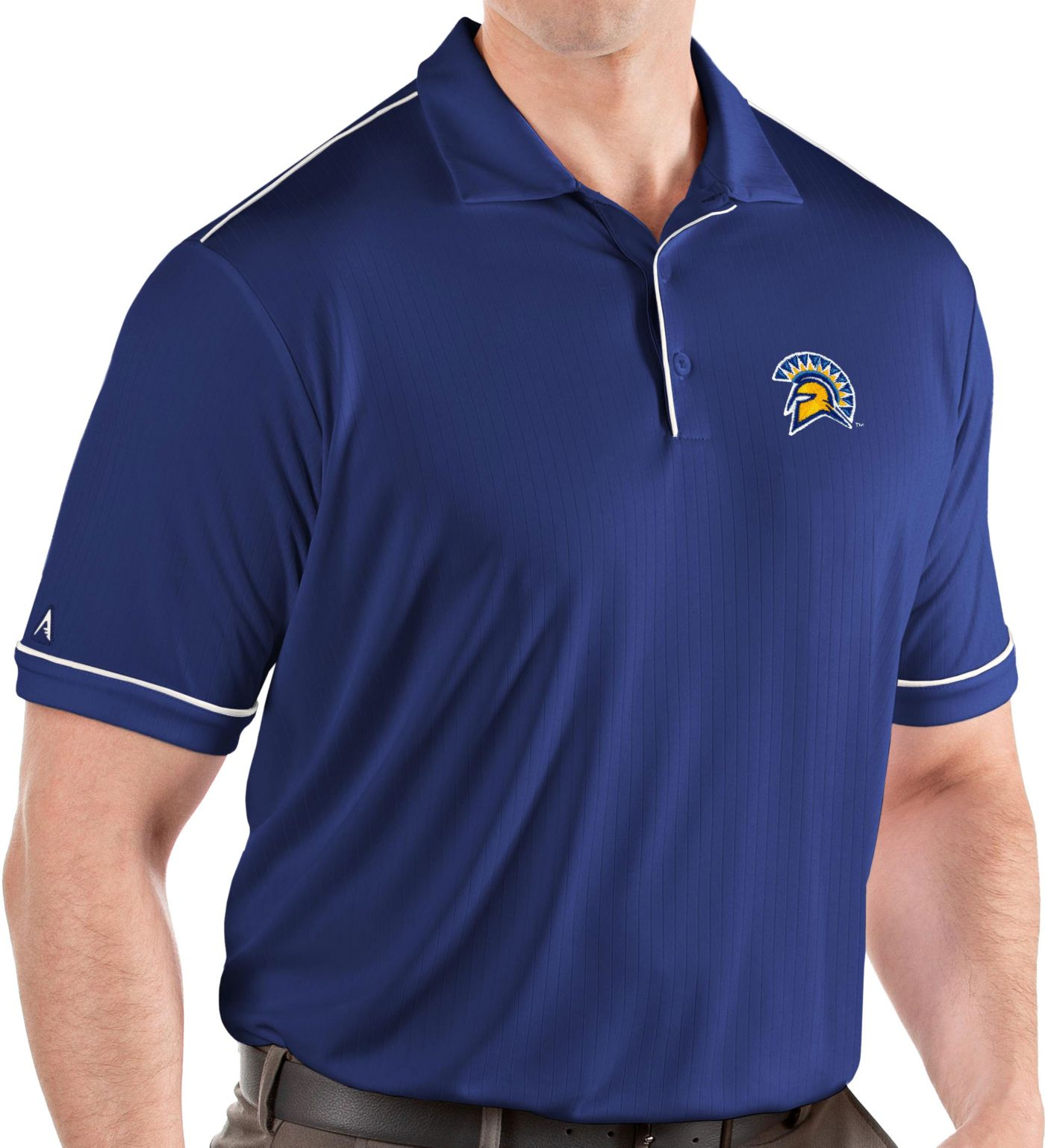 Antigua Men's San Jose State  Spartans Blue Salute Performance Polo