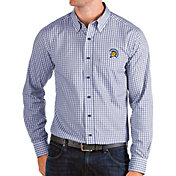Antigua Men's San Jose State  Spartans Blue Structure Button Down Long Sleeve Shirt