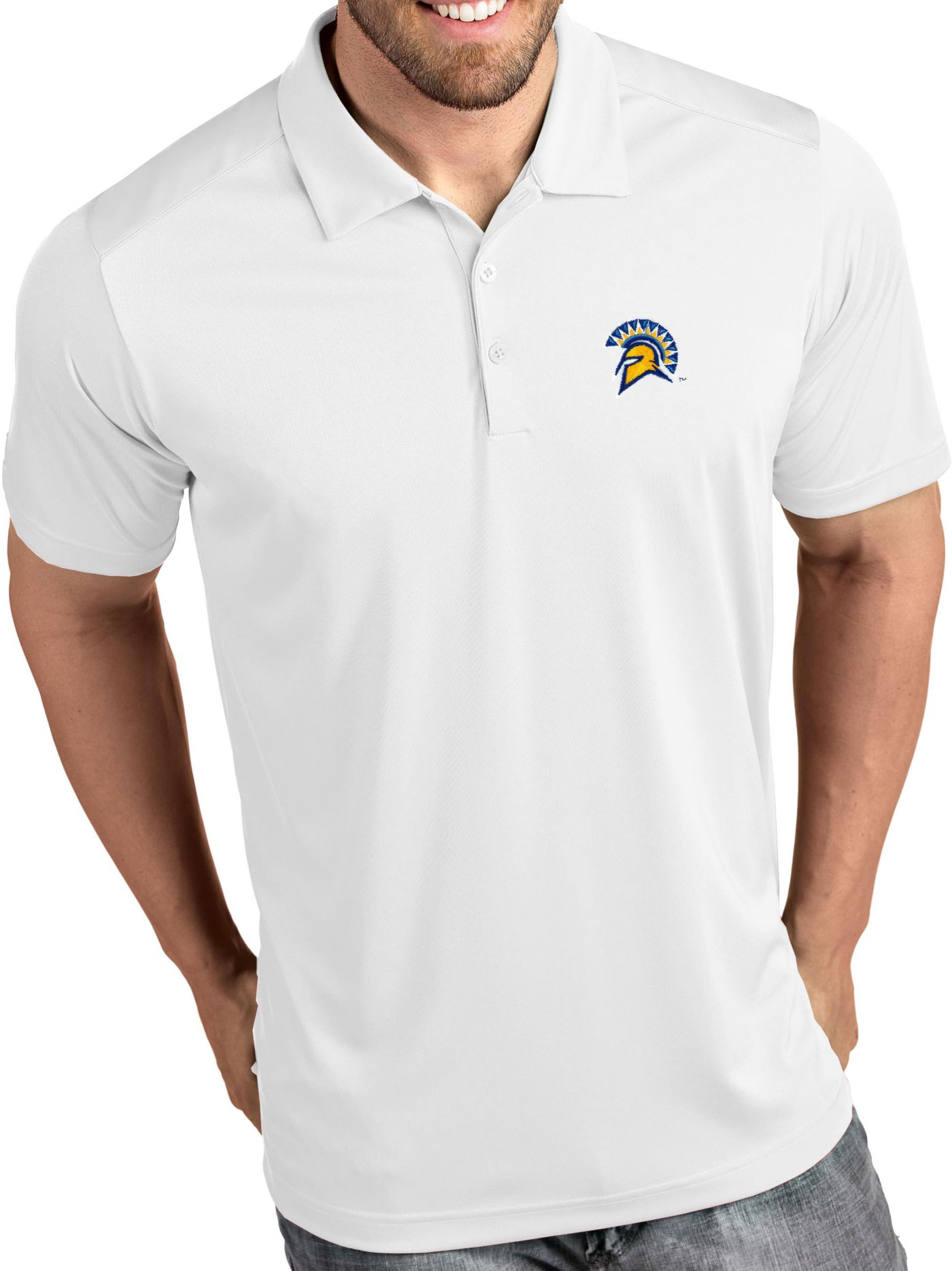 Antigua Men's San Jose State  Spartans Tribute Performance White Polo