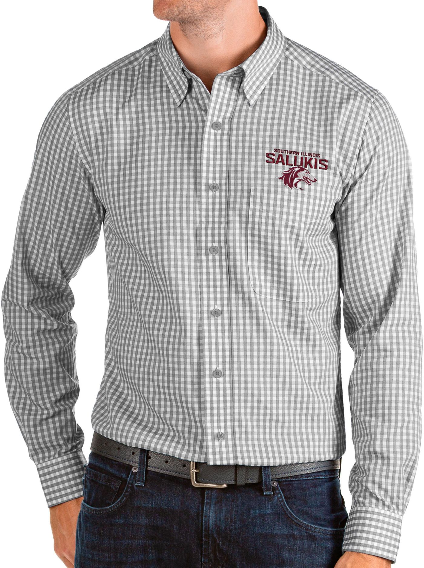 Antigua Men's Southern Illinois  Salukis Grey Structure Button Down Long Sleeve Shirt