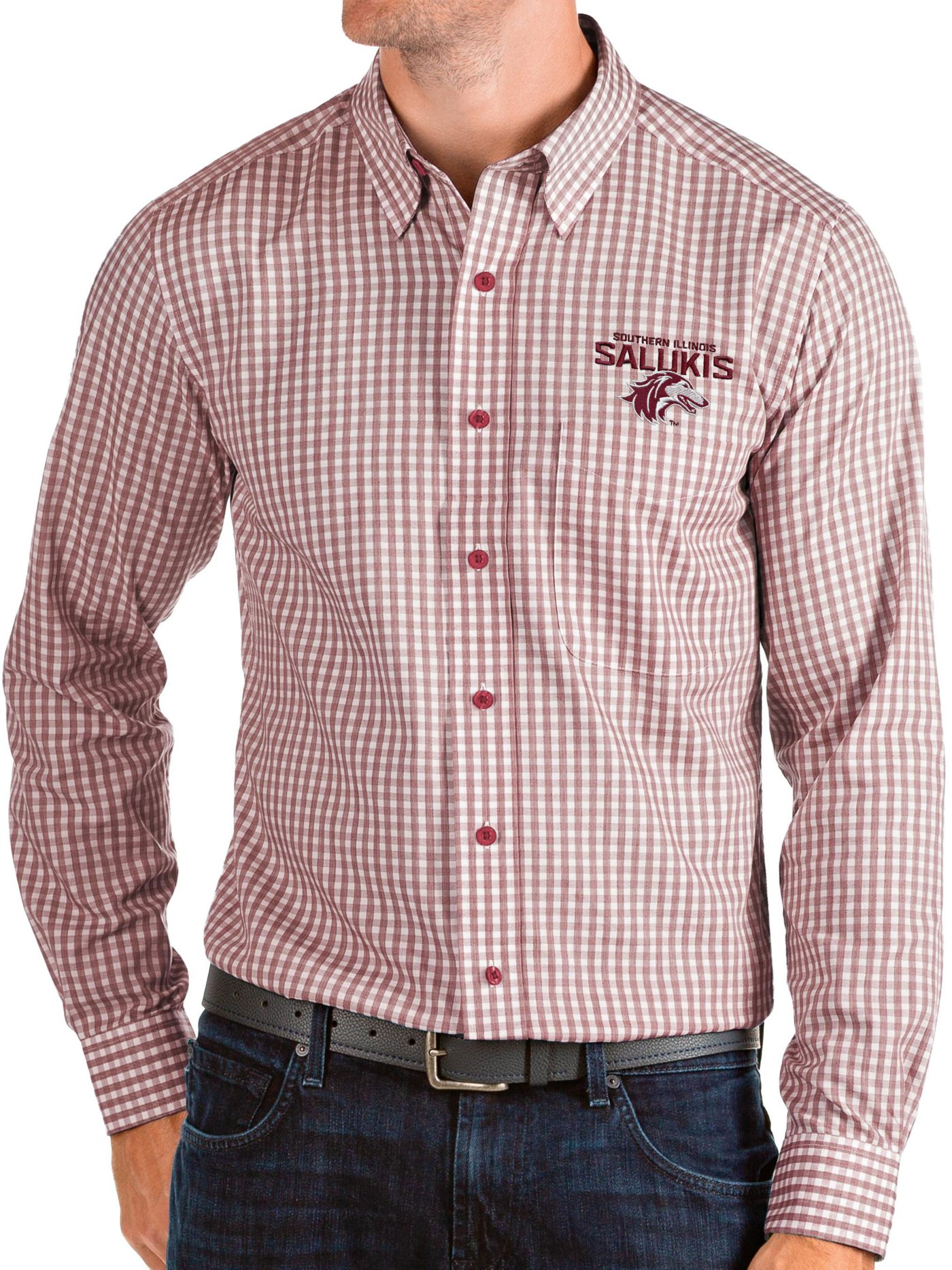 Antigua Men's Southern Illinois  Salukis Maroon Structure Button Down Long Sleeve Shirt