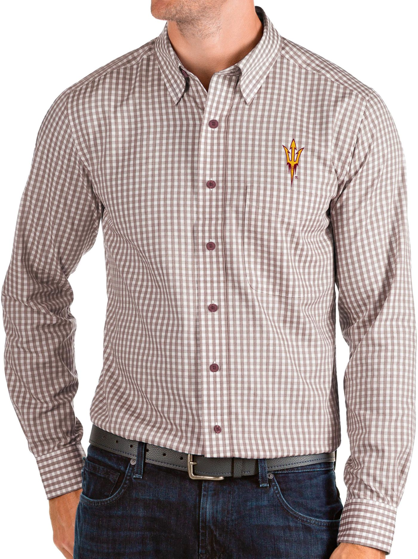Antigua Men's Arizona State Sun Devils Maroon Structure Button Down Long Sleeve Shirt