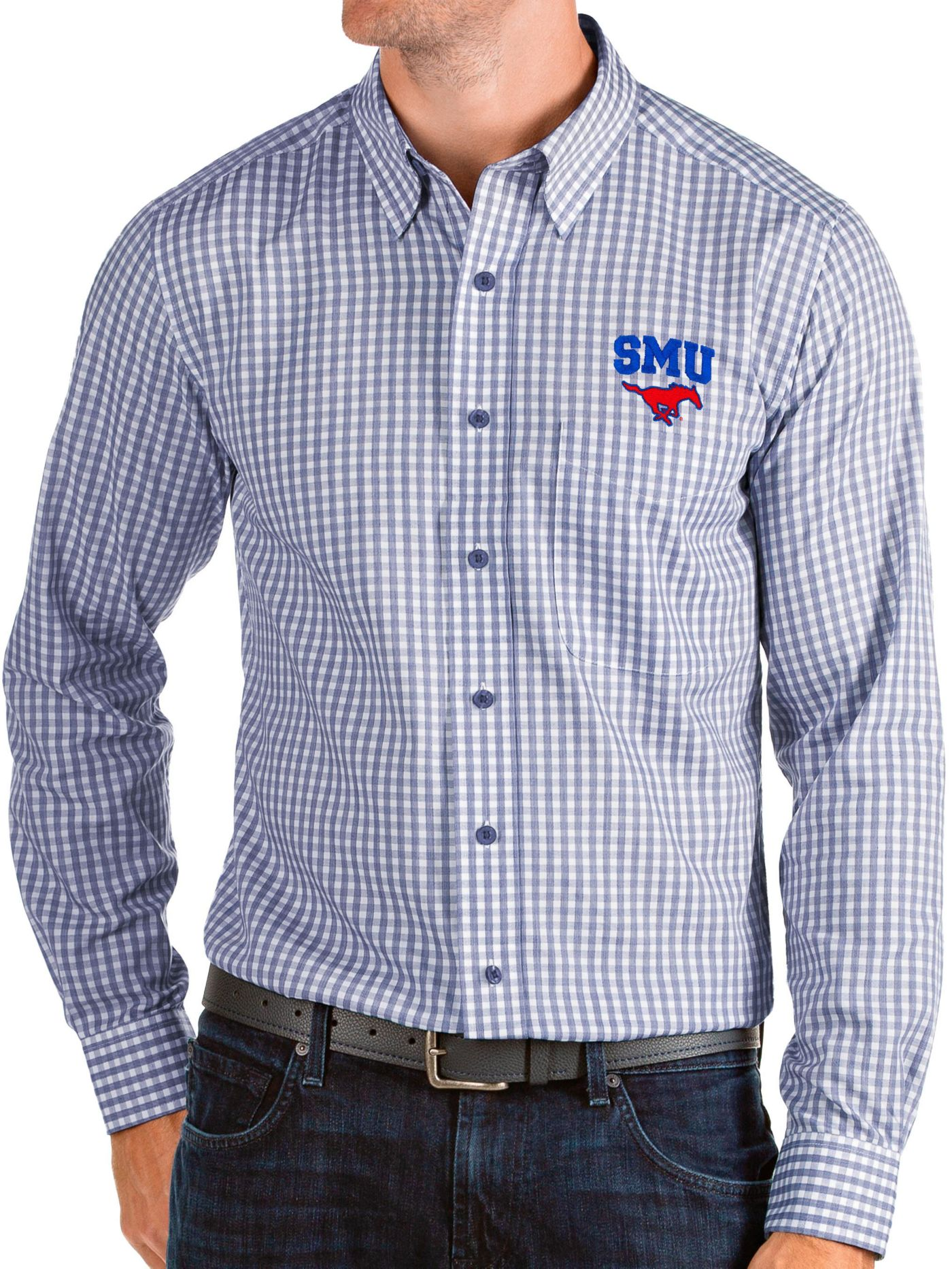 Antigua Men's Southern Methodist Mustangs Blue Structure Button Down Long Sleeve Shirt