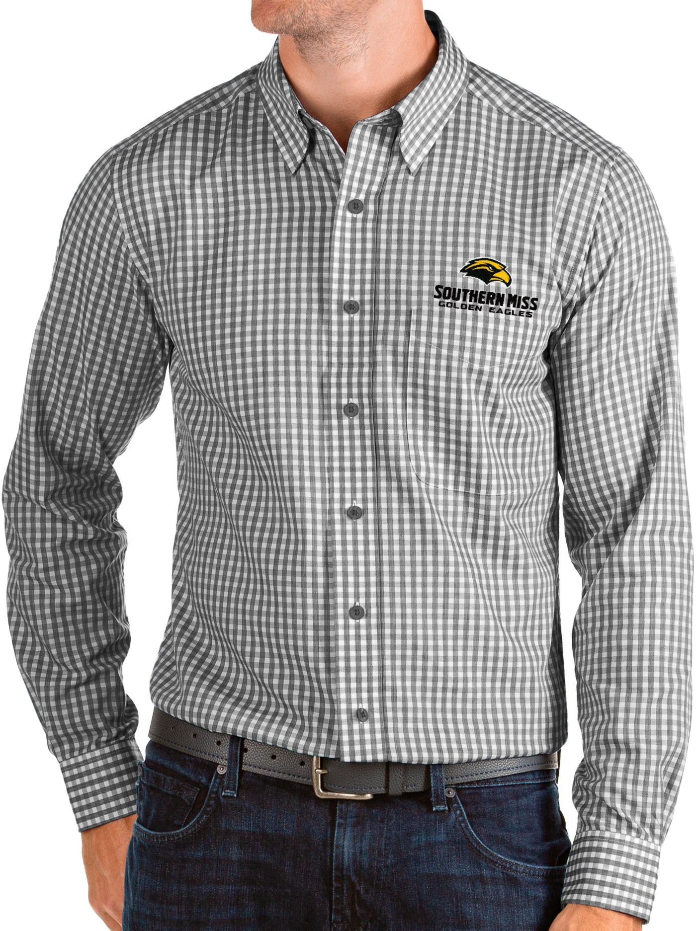 Antigua Men's Southern Miss Golden Eagles Structure Button Down Long Sleeve Black Shirt
