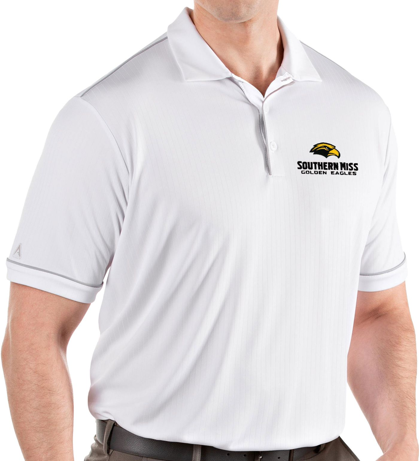 Antigua Men's Southern Miss Golden Eagles Salute Performance White Polo