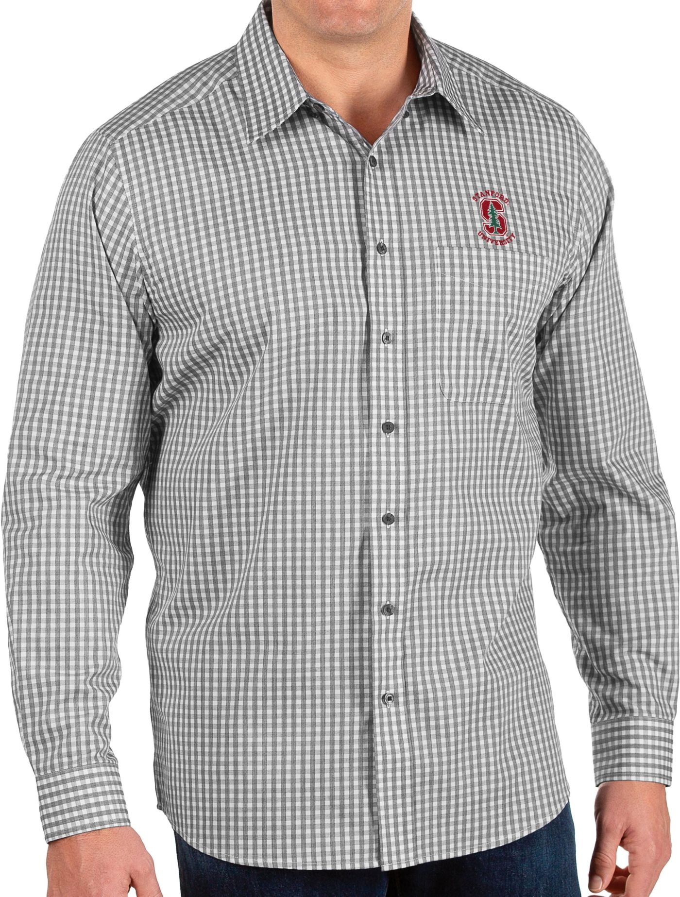 Antigua Men's Stanford Cardinal Structure Button Down Long Sleeve Black Shirt