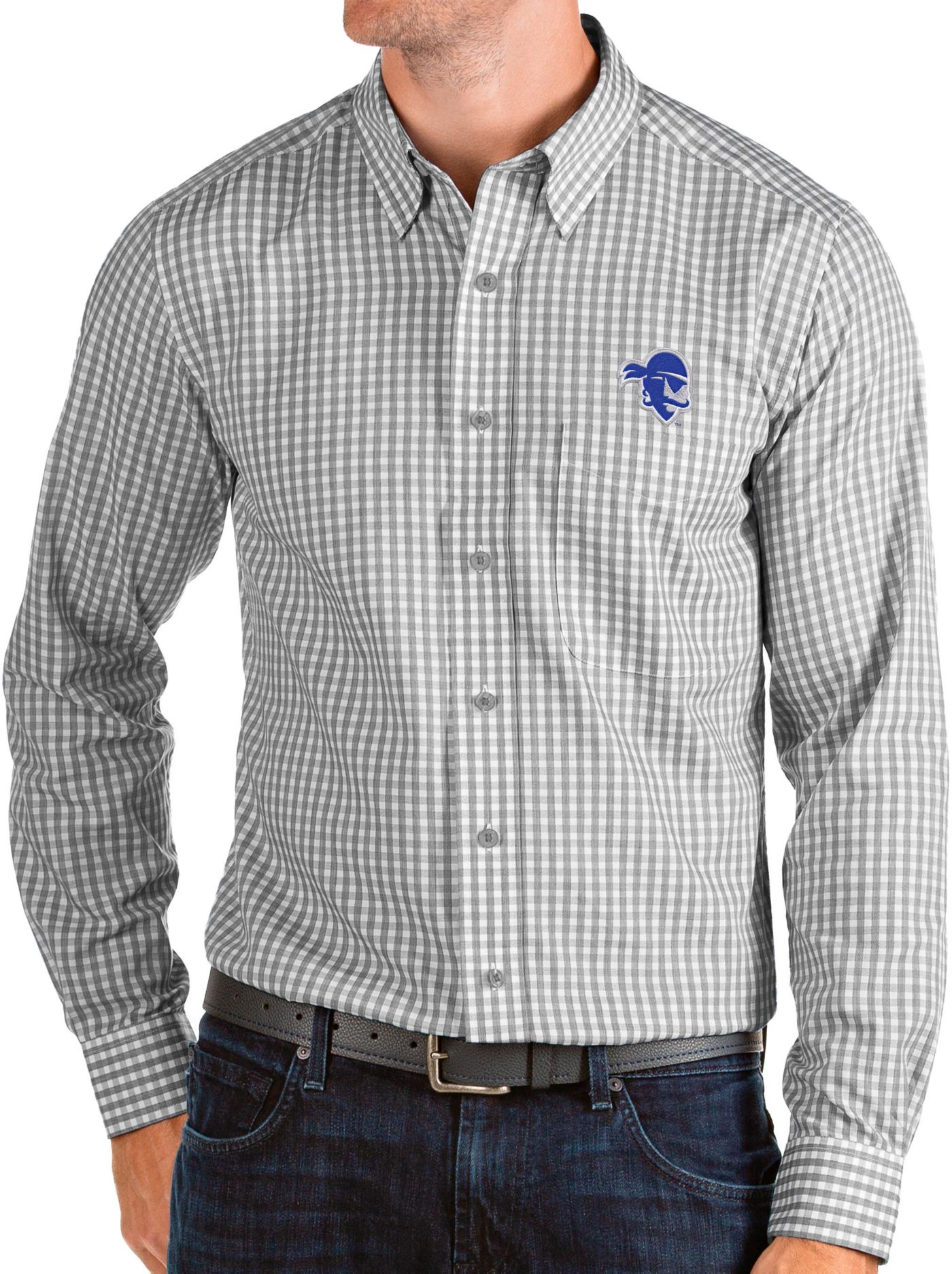 Antigua Men's Seton Hall Seton Hall Pirates Grey Structure Button Down Long Sleeve Shirt