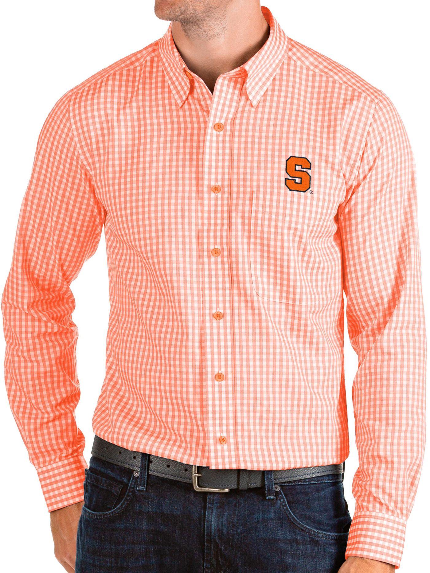 Antigua Men's Syracuse Orange Orange Structure Button Down Long Sleeve Shirt
