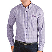 Antigua Men's TCU Horned Frogs Purple Structure Button Down Long Sleeve Shirt