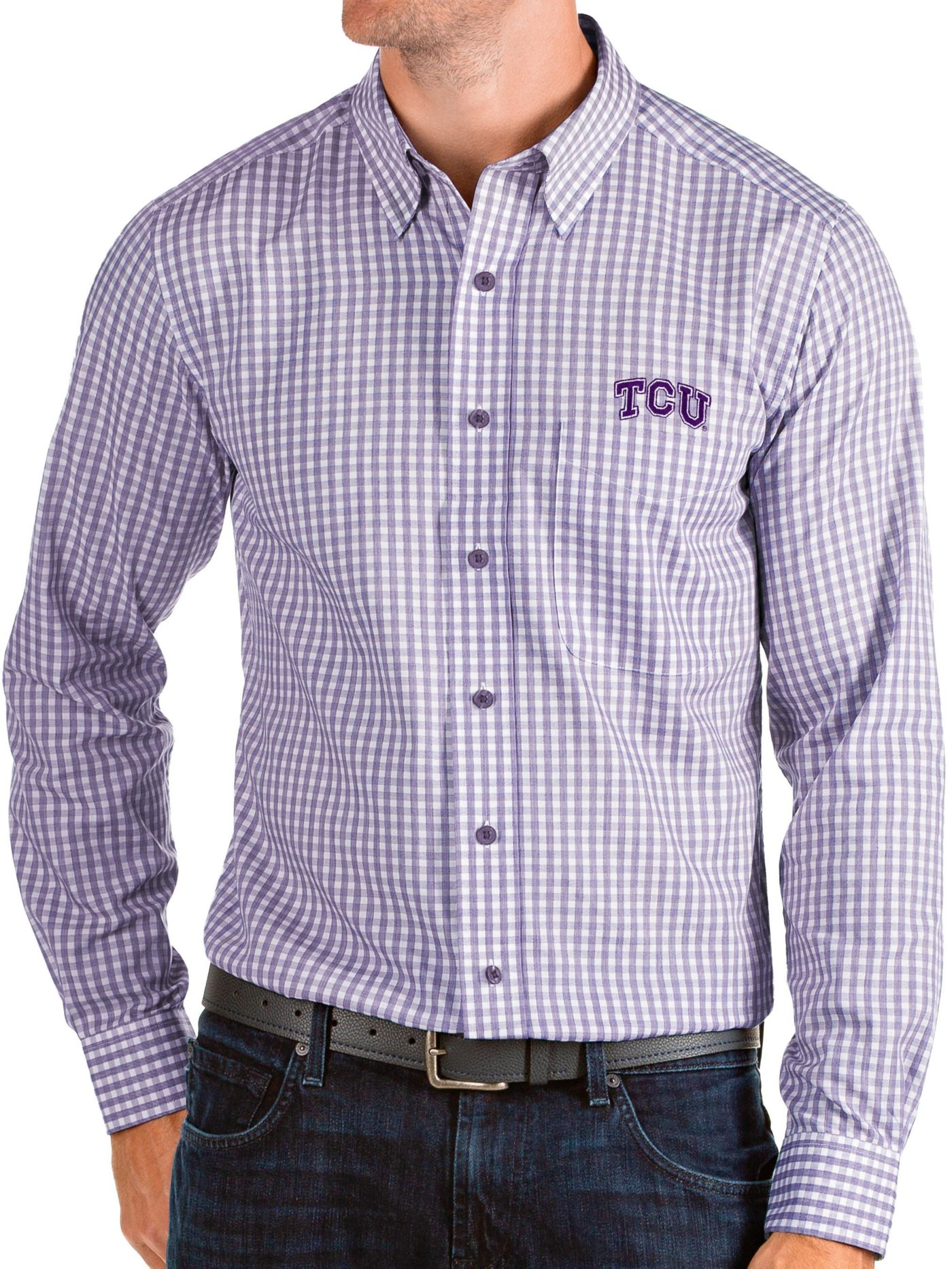 Antigua Men's TCU Horned Frogs Purple Structure Button Down Long Sleeve Shirt