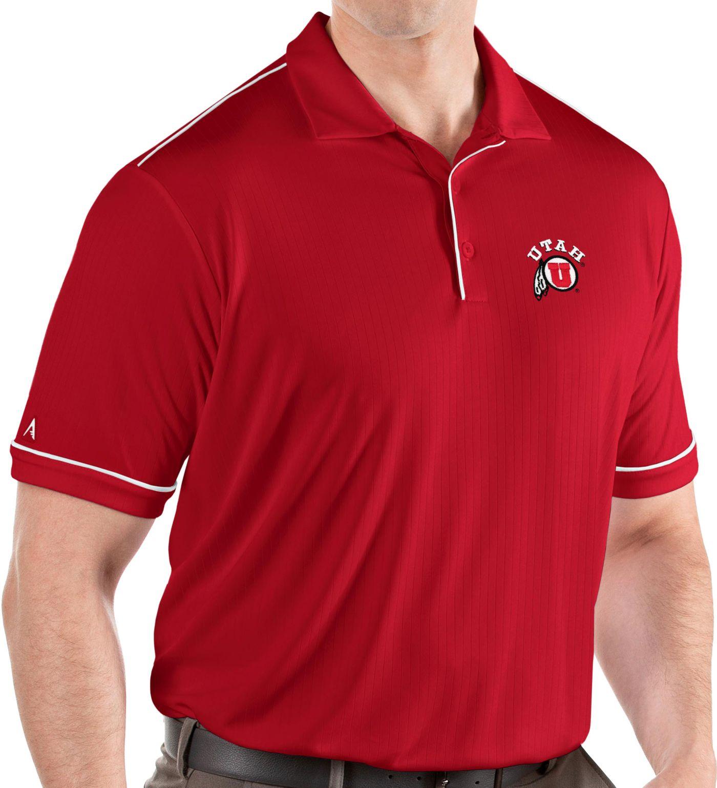 Antigua Men's Utah Utes Crimson Salute Performance Polo