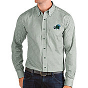 Antigua Men's Tulane Green Wave Olive Structure Button Down Long Sleeve Shirt