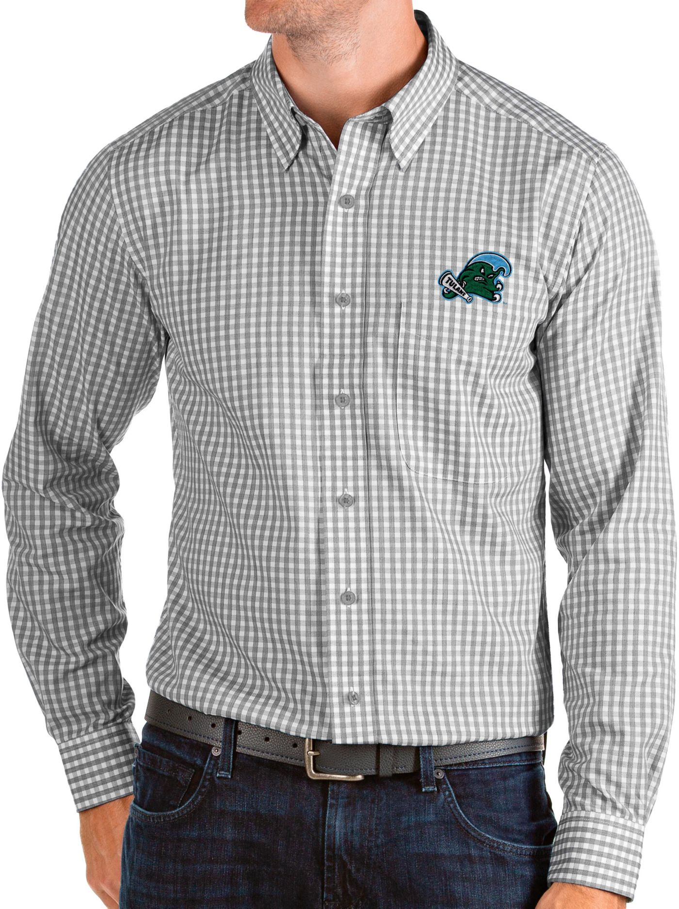 Antigua Men's Tulane Green Wave Grey Structure Button Down Long Sleeve Shirt