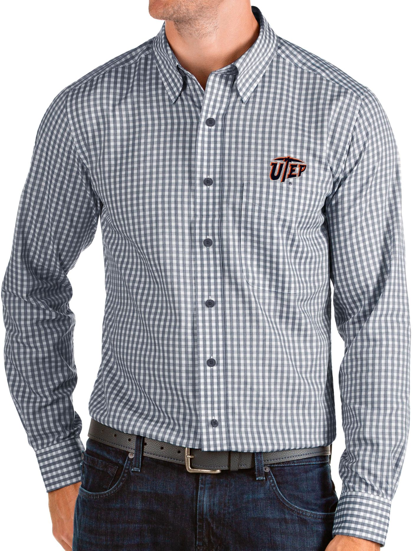 Antigua Men's UTEP Miners Navy Structure Button Down Long Sleeve Shirt
