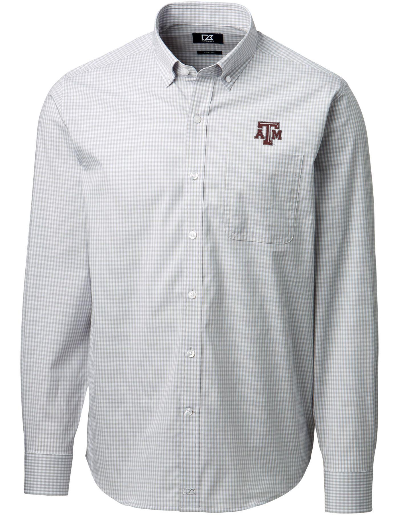 Cutter & Buck Men's Texas A&M Aggies Grey Anchor Gingham Long Sleeve Shirt