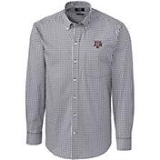 Cutter & Buck Men's Texas A&M Aggies Grey Stretch Gingham Long Sleeve Shirt