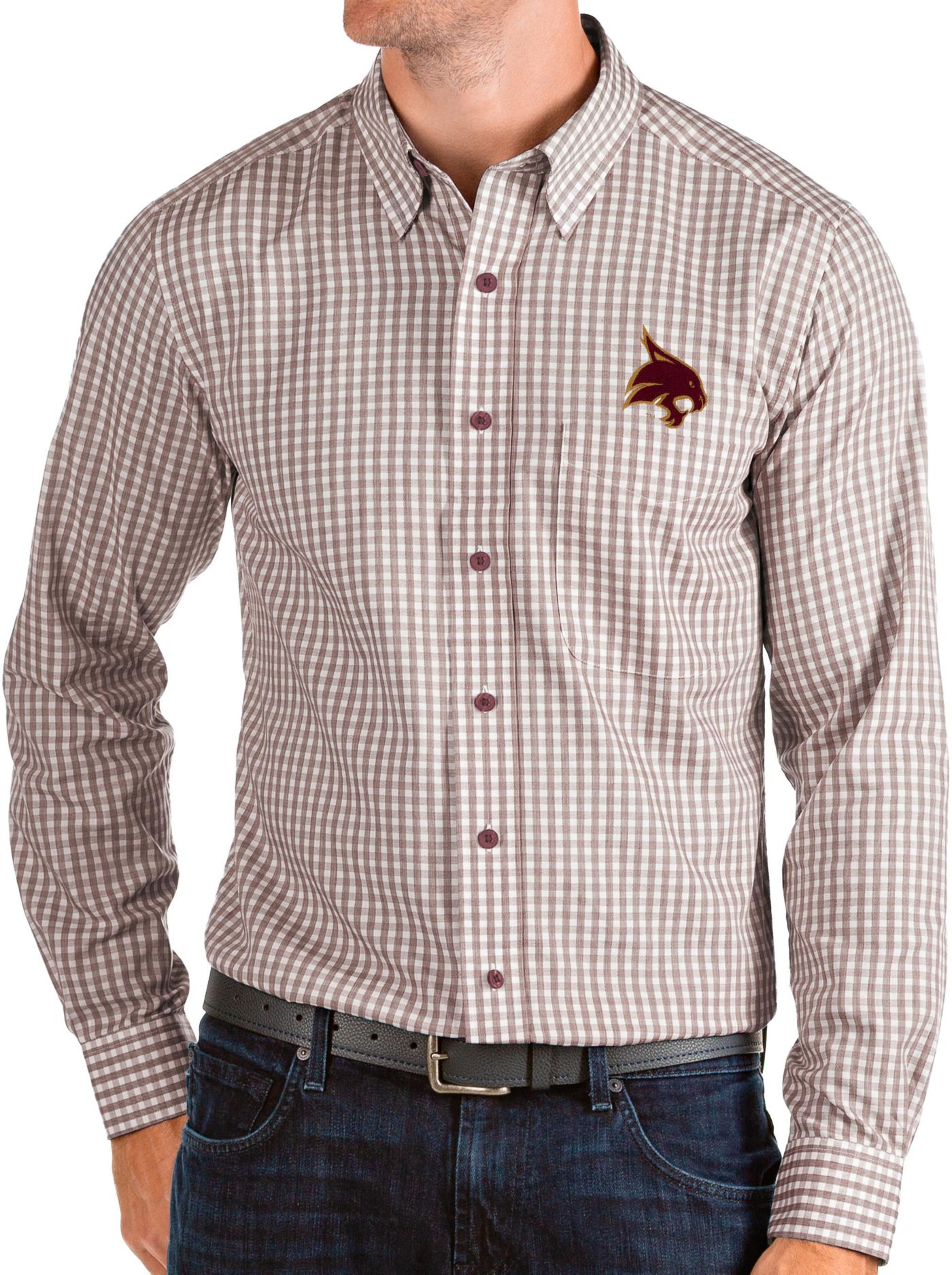 Antigua Men's Texas State Bobcats Maroon Structure Button Down Long Sleeve Shirt