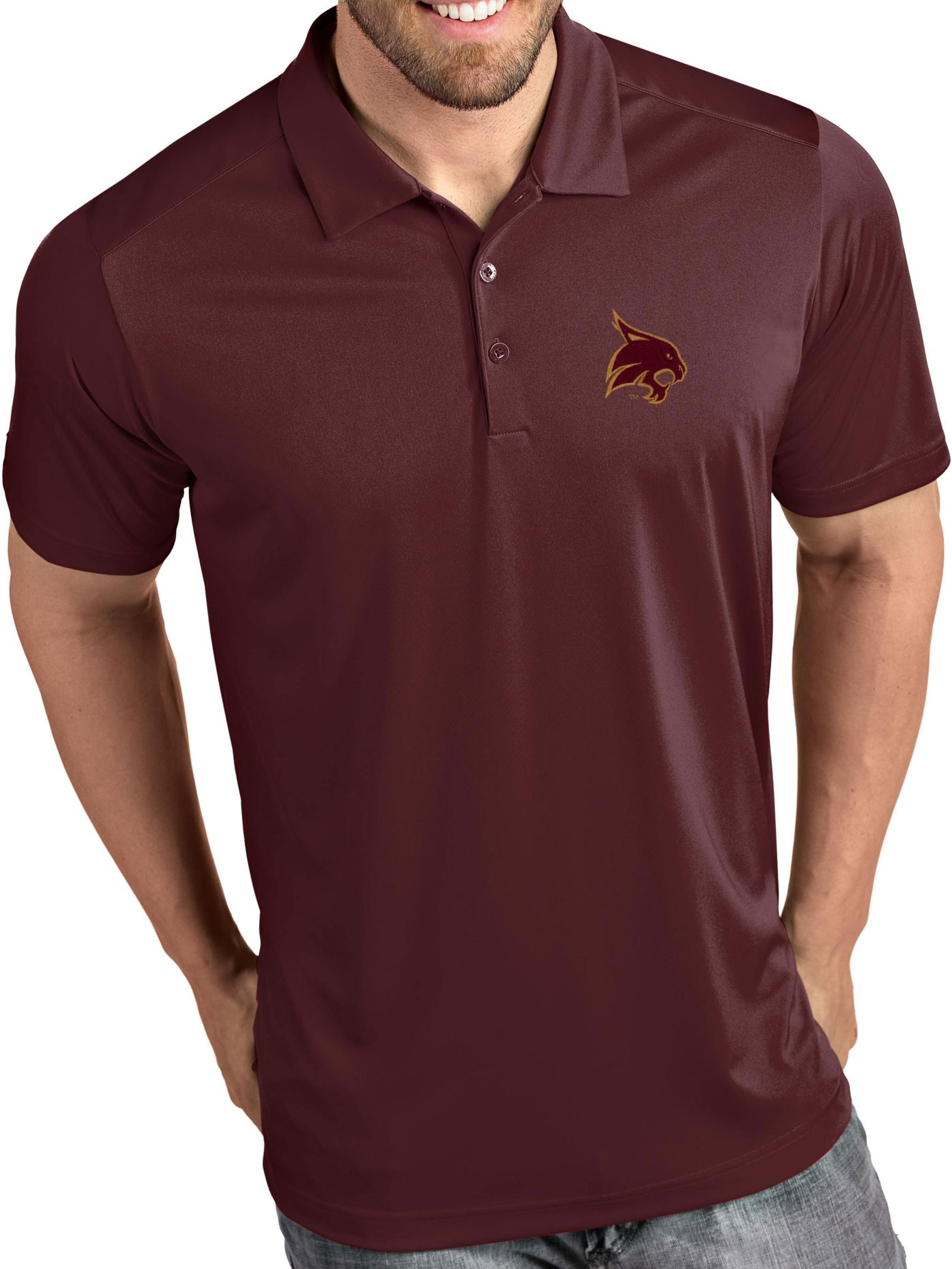 Antigua Men's Texas State Bobcats Maroon Tribute Performance Polo