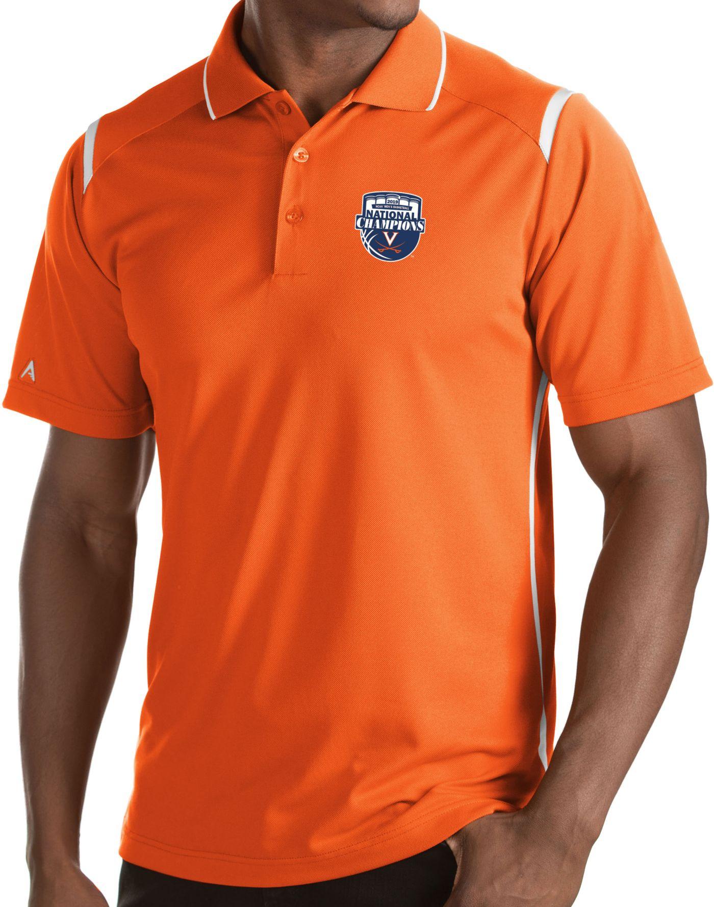 Antigua Men's Virginia Cavaliers Orange 2019 Men's Basketball National Champions Merit Performance Polo