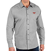 Antigua Men's Virginia Tech Hokies Structure Button Down Long Sleeve Black Shirt