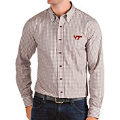 Antigua Men's Virginia Tech Hokies Maroon Structure Button Down Long Sleeve Shirt