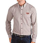 Antigua Men's Virginia Tech Hokies Maroon Structure Button Down Long Sleeve Shirt