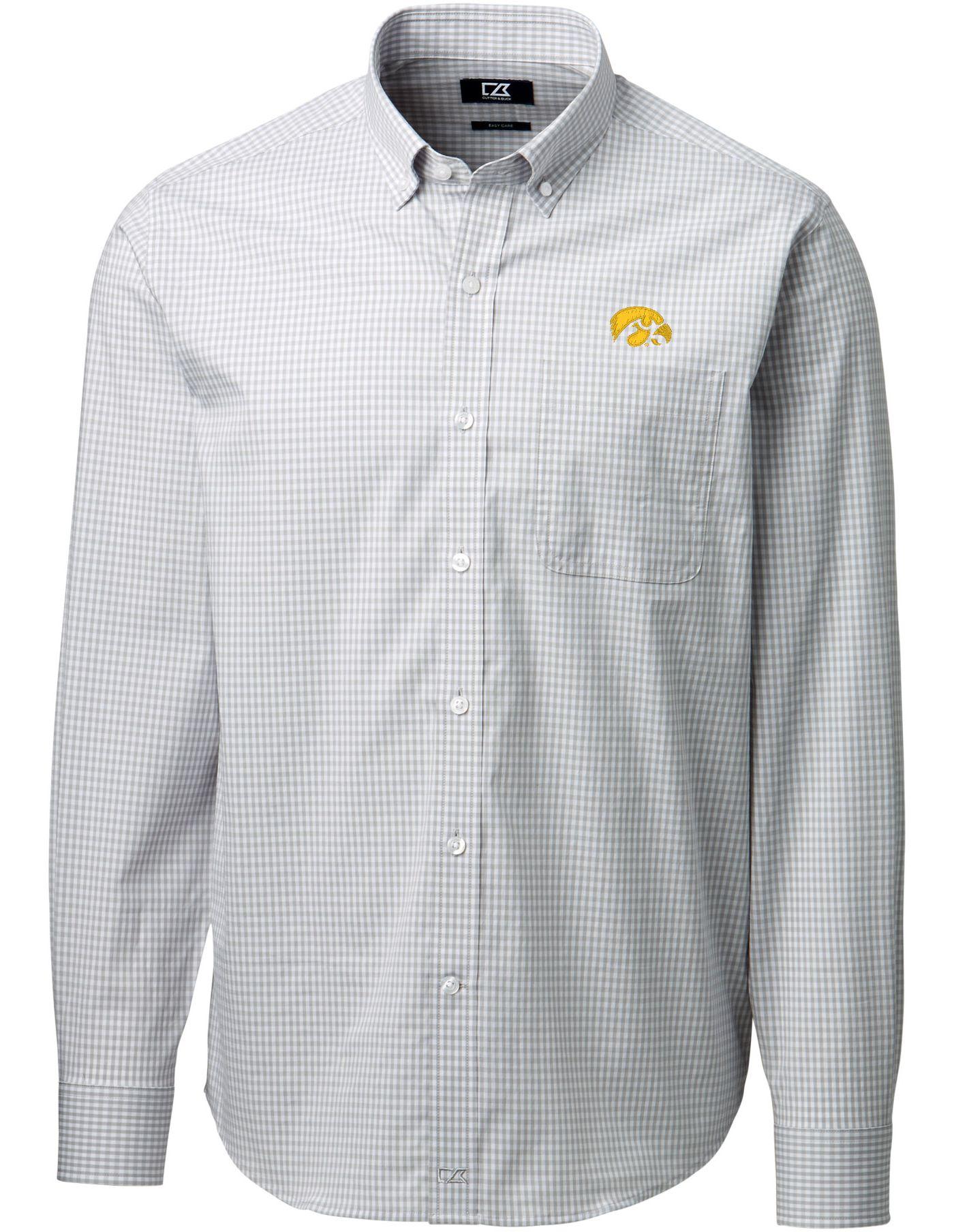 Cutter & Buck Men's Iowa Hawkeyes Grey Anchor Gingham Long Sleeve Shirt