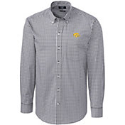 Cutter & Buck Men's Iowa Hawkeyes Grey Stretch Gingham Long Sleeve Button Down Shirt