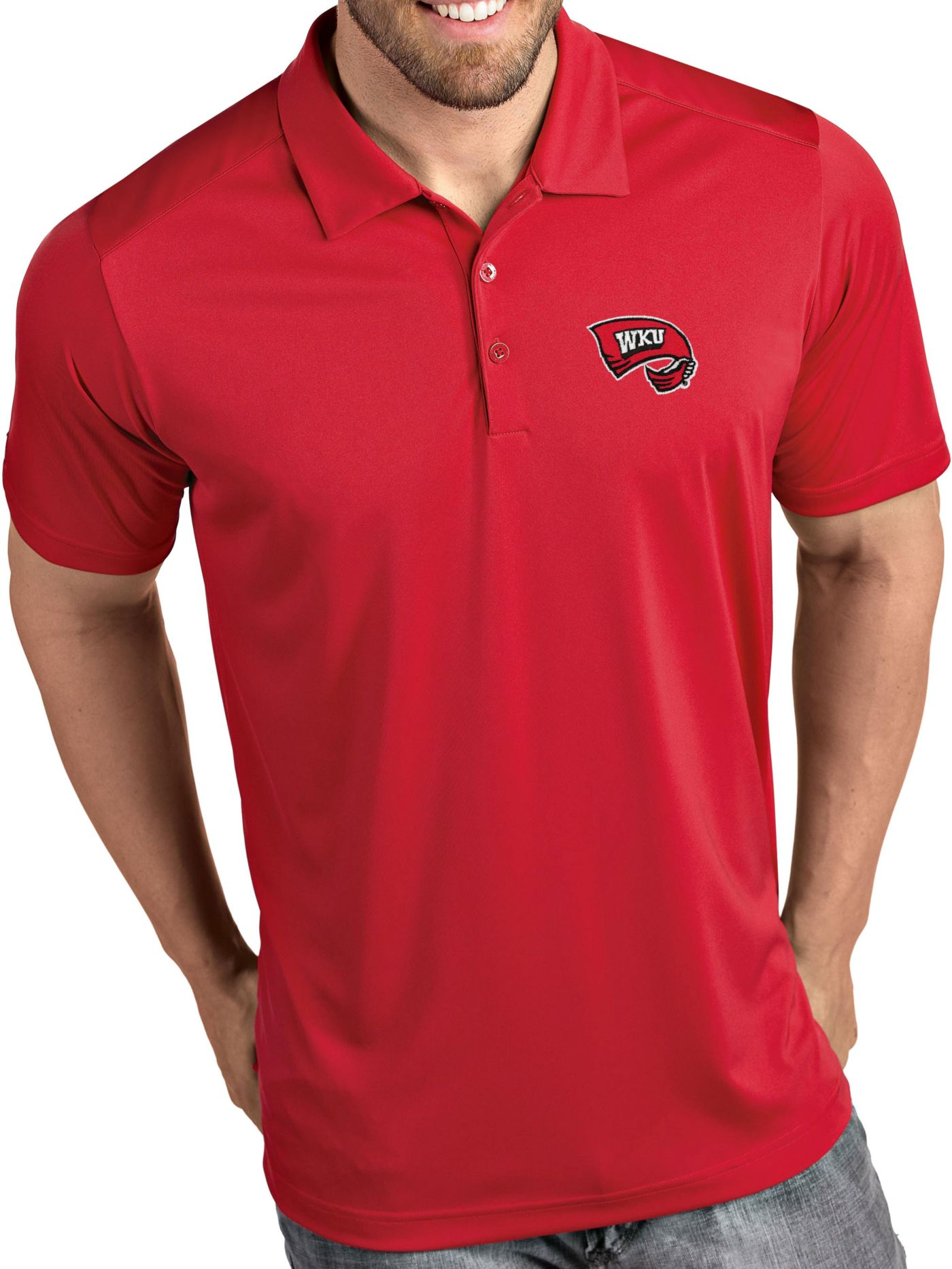 Antigua Men's Western Kentucky Hilltoppers Red Tribute Performance Polo