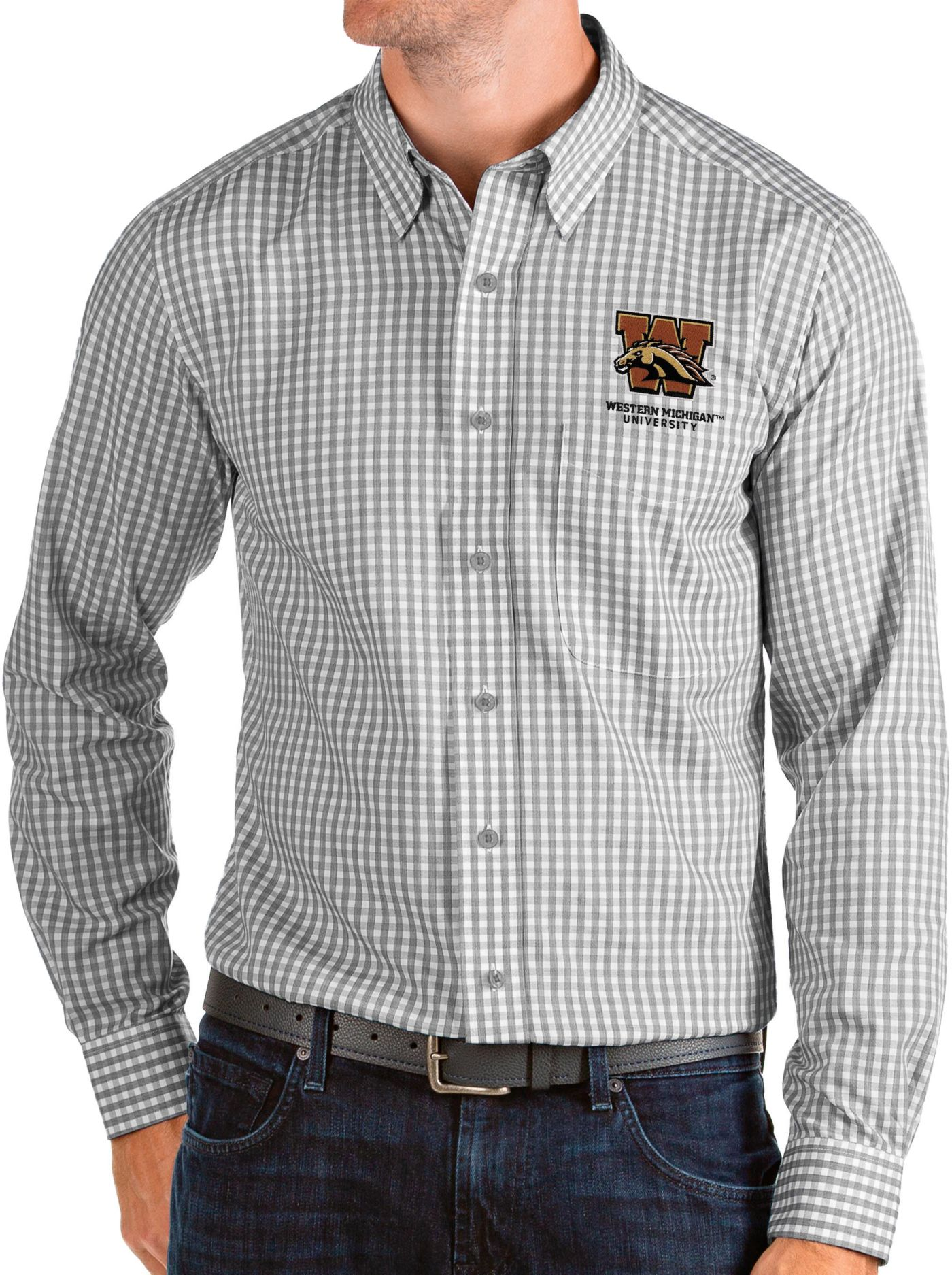 Antigua Men's Western Michigan Broncos Grey Structure Button Down Long Sleeve Shirt