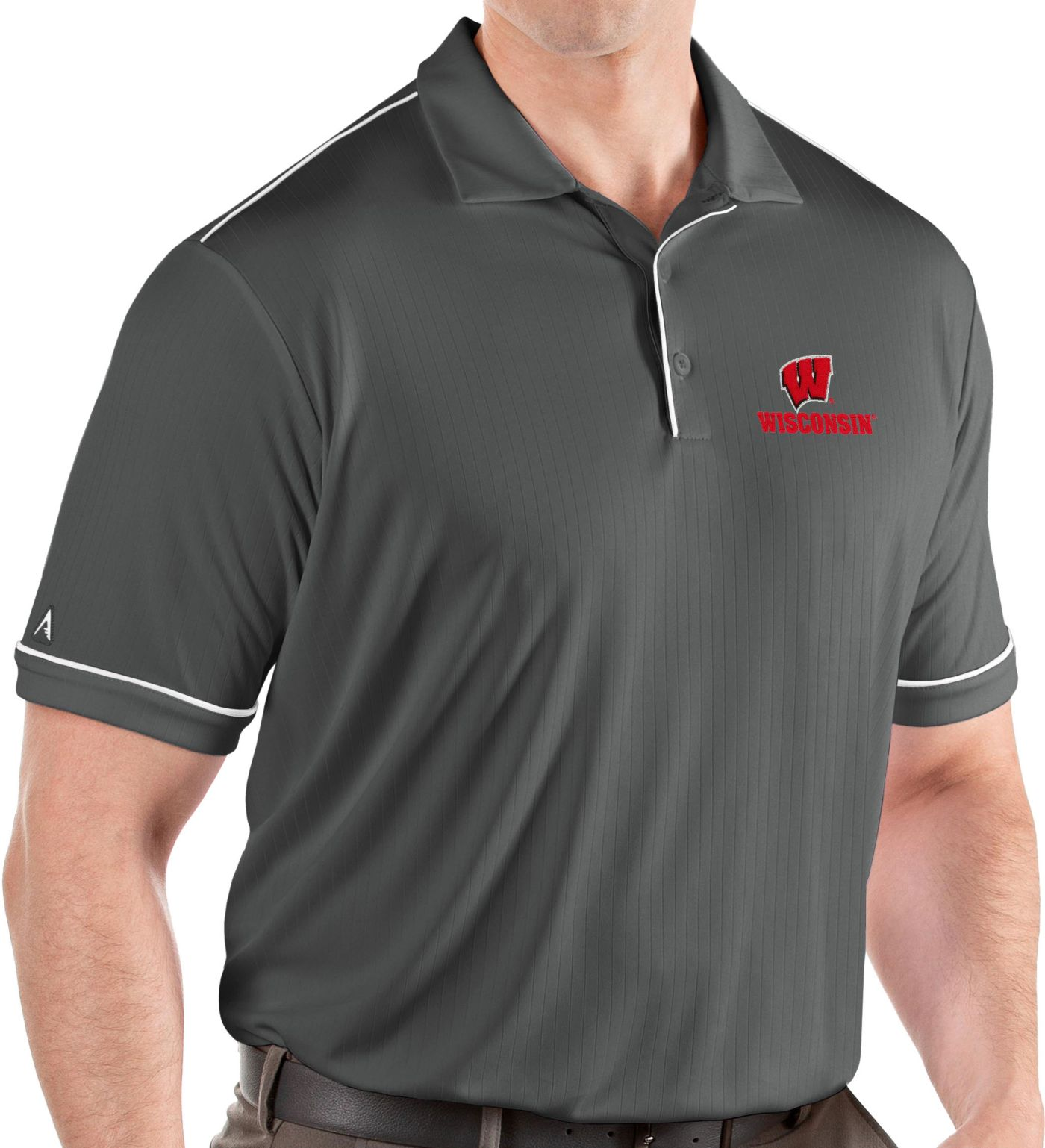 Antigua Men's Wisconsin Badgers Grey Salute Performance Polo