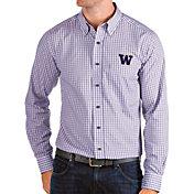 Antigua Men's Washington Huskies Purple Structure Button Down Long Sleeve Shirt